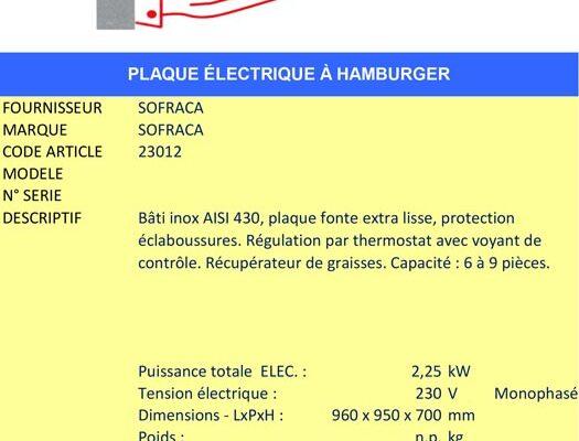 AAE Alsace Alimentaire Équipement - Plaque à snacker SOFRACA