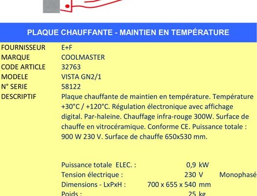 AAE Alsace Alimentaire Équipement - Plaque chauffante COLD MASTER